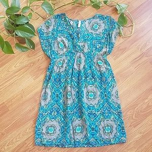 Xhilaration Teal Tie Dye Style Dress